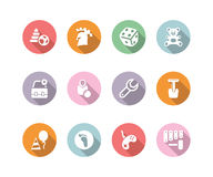 Icon set children toys and games color with shadow Stock Images
