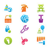 Icon set children toys and games Royalty Free Stock Photography