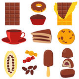 Icon set chocolate products Stock Photos