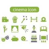 Cinema film movie icon set. Icon set cinema film movie Royalty Free Stock Images