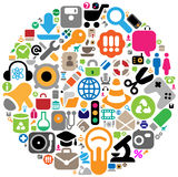 Icon set in circle royalty free illustration