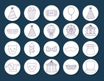 Carnival circus design. Icon set of Circus carnival concept over white circles and blue background, vector illustration Stock Photography