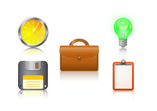 Icon set - clock, suitcase, bulb, floppy, note Stock Photos