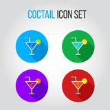 Icon set of coctails with lime and orange Royalty Free Stock Photos