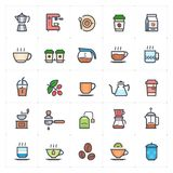 Icon set - coffee and tea full color outline stroke royalty free stock photos