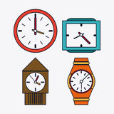 icon set of colorfull Clocks. Time design. Vector graphic Royalty Free Stock Photo