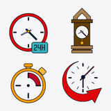 icon set of colorfull Clocks. Time design. Vector graphic Royalty Free Stock Images