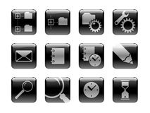 Icon set on the 'Computers' theme. Black and white pictograms, pictured on the rounded square glossy buttons. I've used my own designed symbols/pictograms vector illustration