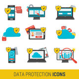 Icon set concept data protection. And safe work in internet. Nine icons protective shield on on various devices computer, online financial transactions,  cloud Royalty Free Stock Photos