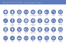 Icon set of connected cars concept Stock Images