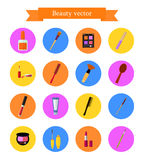 Icon set of cosmetic elements. Flat style Royalty Free Stock Image