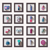 Icon Set of Cosmetics, Make Up and Beauty objects, Royalty Free Stock Image