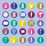 Icon Set of Cosmetics, MakeUp and Beauty objects Stock Image