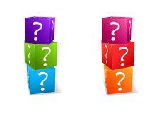 Icon set cubes with question mark Stock Photo