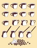 Icon set cups of coffee, milk jug, pots. Vector illustration. Brown-white icon set cups and bean of coffee, milk jug, pots on a beige background. Vector Stock Images