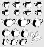 Icon set cups of tea, milk jugs, teapots and sugar basin.Vector illustration. Stock Photos