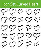 Icon Set Curved Hearts Stock Photo