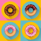 Icon Set Cute sweet colorful chocolate donuts Stock Images