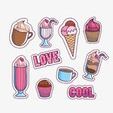 Dessert and sweet food design. Icon set of dessert and sweet food theme Vector illustration Stock Photography