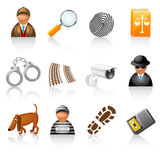 Icon set for detective agency stock illustration