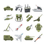 Icon set of different army weapons. Military and police equipment. Vector pictures in flat style. Gun weapon and army machine, handgun and helicopter Royalty Free Stock Photo