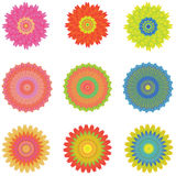 Icon set with 9 different flowers, isolated on white, vector Royalty Free Stock Images