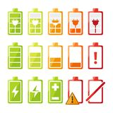 Icon set with different status of battery charger for mobile phone or smartphone. Vector recharge electronic status illustration Royalty Free Stock Images