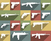 Icon set of different weapons. Large and detailed icon set of different weapons Royalty Free Stock Photos