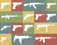 Icon set of different weapons. Large and detailed icon set of different weapons Royalty Free Stock Photography