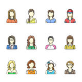 Icon set of different woman character in line style. Female, girl, business woman avatars. Vector illustrations isolated on white background Vector Illustration