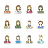 Icon set of different woman character in line style. Female, girl, business woman avatars. Set 2 Royalty Free Stock Photo