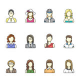 Icon set of different woman character in line style. Female, girl, business woman avatars. Royalty Free Stock Images