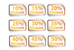 Icon set discount labels on orange white background,  illu. Icon set discount labels on orange white background Stock Photography
