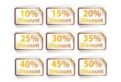 Icon set discount labels on orange white background, illu. Icon set discount labels on orange white background vector illustration
