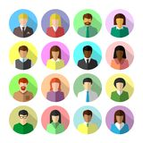 Icon set of diverse business people in flat design. Icon set of diverse business people in colorful flat design. Avatar in circle shape with long shadow royalty free illustration