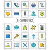 Icon set e-Commerce, flat design, shopping symbols and elements Royalty Free Stock Photo
