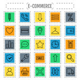 Icon set e-Commerce, flat design, shopping symbols and elements Stock Photography