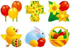 Icon set for easter. Vector icon set for easter of easter eggs; easter bunny, chicken, easter basket, tulip and daffodils and cross Royalty Free Stock Image