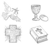Icon set for easter. Vector of Dove with olive branch, Religious cross, Bread,  gold Chalice with Wine and  Bible  at doddle style Stock Image