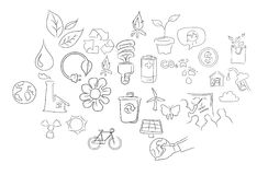 Icon set eco environment hand drawing illustration. With object such as leaf, bicycle, eco friendly, coin, global warming, sun poer, electricity, pollution stock illustration