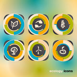 Icon set on the ecology and conservation of energy Stock Photo