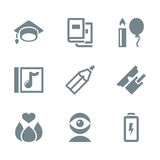 Icon set education and science gray Royalty Free Stock Photo