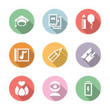 Icon set education and science with shadow Royalty Free Stock Photography