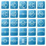 Icon set of electrical circuits. Symbols of electronic components are shown in the picture Royalty Free Stock Photo