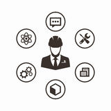 Icon set engineer. Engineer Icon. Engineering and manufacturing vector icon set Stock Photo