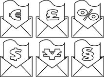 Icon set - Envelope with financial and legal document - Vector. An icon set with an envolope having a financial and legal document partially outside - Vector Stock Photos