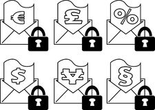 Icon set - Envelope with secret financial and legal document - Vector. An icon set with an envolope having a financial and legal document partially outside. A Stock Image