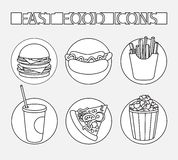 Icon set fast food Royalty Free Stock Photos