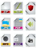 Icon set for files. Icon set of nine for files Royalty Free Stock Image