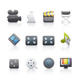 Icon Set - Film Equipment. Set of icons on white background in Adobe Illustrator EPS 8 format for multiple applications Stock Photo